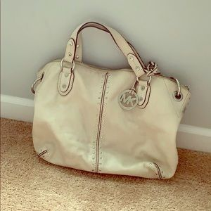 Michael Kors white purse with silver accent